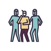 icône de prise en charge du patient sur la pandémie de coronavirus