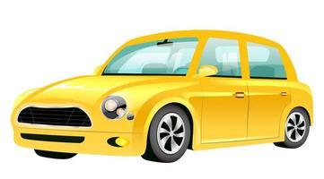 illustration vectorielle de mini voiture jaune dessin animé