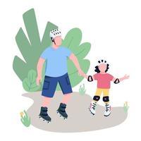 père et enfant patinage à roulettes plat couleur vecteur personnages sans visage