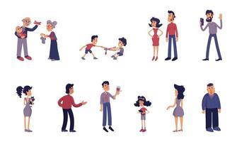 kit d'illustrations de dessin animé plat adultes et enfants vecteur