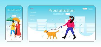 modèle de vecteur de couleur plate page de destination des précipitations