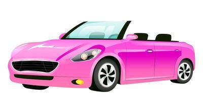 illustration vectorielle de dessin animé rose cabriolet