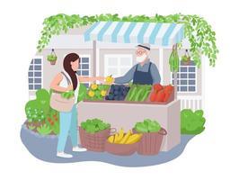 marché aux légumes bannière web vecteur 2d, affiche
