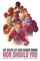 affiche de sensibilisation pour encourager les travailleurs de la santé qui risquent leur vie en première ligne vecteur