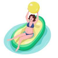 femme enceinte, dans, piscine, plat, couleur, vecteur, caractère vecteur