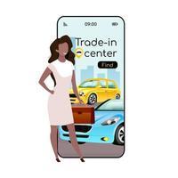 commerce dans l'écran de l'application de vecteur smartphone dessin animé centre