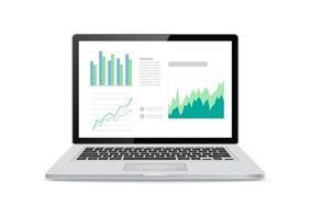 écran d'ordinateur portable avec tableaux et graphiques financiers sur fond blanc. illustration vectorielle.