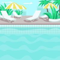 illustration vectorielle de couleur plate au bord de la piscine vecteur