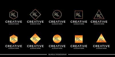 lot de monogramme à logo rk vecteur