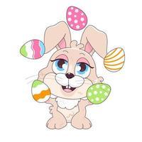 mignon lapin jonglant avec des oeufs de pâques personnage de vecteur de dessin animé kawaii