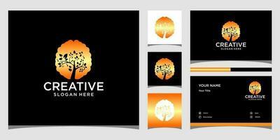 modèles de logo cerveau et arbre et conception de cartes de visite vecteur
