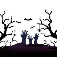 mains de zombie pour halloween avec des chauves-souris volant vecteur