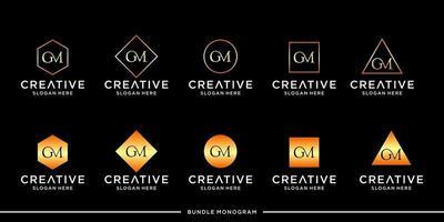lot de monogramme avec logo gm vecteur