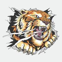 la tête du tigre a déchiré le mur vecteur