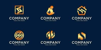 lot de logo dégradé vecteur