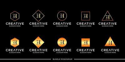 lot de monogramme avec logo eh vecteur