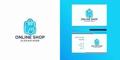 modèles de logo de boutique en ligne et conception de cartes de visite vecteur