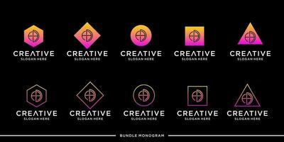 ensemble de monogramme avec logo publicitaire vecteur