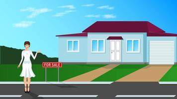 agent immobilier, jeune femme se dresse et montre la maison