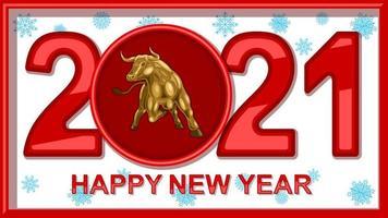 taureau d'or en métal, lettrage du nouvel an chinois 2021 vecteur
