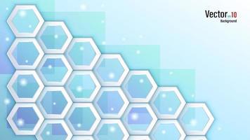 Hexagones blancs 3D sur fond bleu clair vecteur
