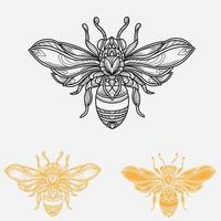 conception de simétrie d'abeille vecteur