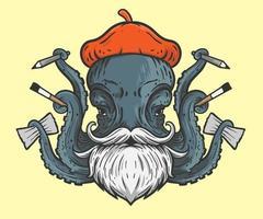 illustration dartiste poulpe vecteur