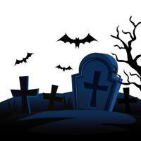 tombes d'halloween avec des chauves-souris volant vecteur