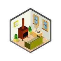 chambre avec cheminée isométrique sur fond blanc