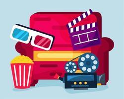 illustration de concept de cinéma maison dans un style plat