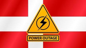 Panne de courant, panneau d'avertissement jaune sur le fond du drapeau du Danemark