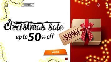 vente de Noël, jusqu'à 50 off, bannière de réduction blanche et rouge pour site Web avec présent avec étiquette de prix, vue de dessus vecteur