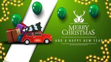 joyeux noël, carte postale verte avec guirlandes, ballons, logo de voeux avec cerf et voiture vintage rouge portant arbre de Noël