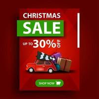 Vente de Noël, jusqu'à 30 de réduction, bannière de réduction verticale rouge avec bouton et voiture vintage rouge transportant l'arbre de Noël vecteur