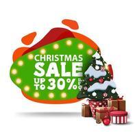 vente de Noël, jusqu'à 30 de réduction, bannière de réduction verte moderne dans le style de lampe à lave avec ampoules et arbre de Noël dans un pot avec des cadeaux vecteur