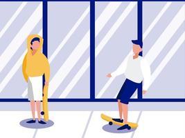 Jeune homme monté sur une planche à roulettes à l'extérieur vector illustration design