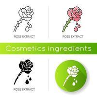 icône d'extrait de rose. pétales de fleur. composant parfumé.