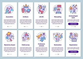Écran de page d'application mobile d'intégration d'archéologie avec ensemble de concepts linéaires.