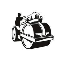 rouleau-compacteur ou rouleau compresseur vintage vecteur