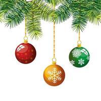 Boules de Noël icône isolé décoration suspendue