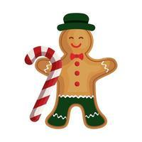 biscuit au gingembre de Noël avec canne à sucre vecteur
