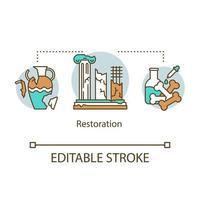 icône de concept de restauration. reconstruction d'artefacts historiques, de bâtiments. vecteur