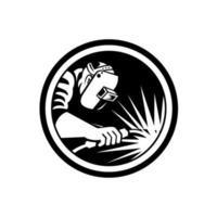Soudeur fabricant soudage torche cercle rétro noir et blanc vecteur