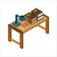 bureau avec des livres isométriques sur fond blanc