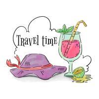 Chapeau de voyage et cocktail avec citron et nuages