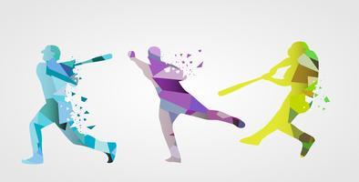Joueur de baseball coloré abstrait Illustration de plat vecteur