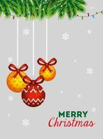 affiche joyeux noël avec des boules décoratives suspendues
