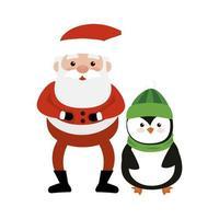 joyeux noël père noël avec pingouin vecteur