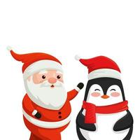 père noël avec des personnages de pingouin joyeux noël vecteur