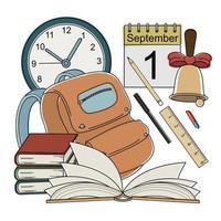 icônes de l'école de couleur de style dessin animé de vecteur